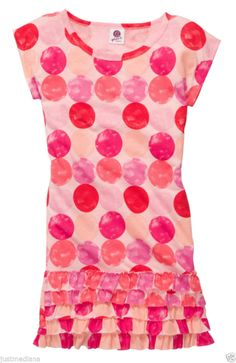 OshKosh Girl's Cute Jersey Short-Sleeve Pinks Ruffly Dot Dress  -Sz  6X - Easter - $14.99 - Re-list April 21, 2014 - #FreeShipping