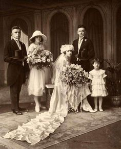 Stunning Albumen Vintage Wedding photo Top hats long train WOW