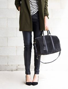 olive green coat, striped tee, leather skinny pants, suede duffel bag and black pumps