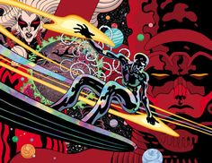 Silver Surfer: Black Pin-Up Drawn by Tradd Moore, Colored by Dave Stewart from Guardians of the Galaxy Marvel Comic Universe, Marvel Comics Art, Ms Marvel, Captain Marvel, Comic Book Heroes, Comic Books Art, Book Art, Tradd Moore, Black Pin Up