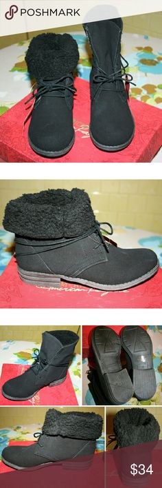 NWT American Rag Black Ankle Boots These are perfect black boots for colder weather. They are lined with fleece and look great both folded down or worn up with leggings or jeans. I like the simplistic design with only a few eyelets to lace up - very modern! The outer feels like a mix between neoprene and suede. The pictures make it look a little like there might be scuffs, but these are brand new. It's just that material can be rubbed like suede. It's made from synthetic materials and has a…
