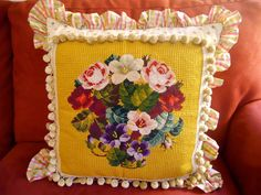 Designer Pillow 19 X 19 Needlepoint Pansies by MaidenLaneVermont, $225.00