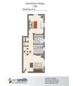 One Bedroom Floor Plan | Grandview Village in Southeast Washington DC | WC Smith #Apartments | Villages of Parklands #Rentals