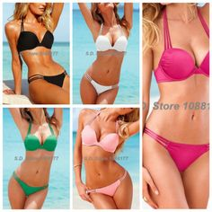 Black, White, Green, Rose , Pink Push-Up Halter Top Strappy String Bottom Model 3036 Bikini Set Swimsuit On Sale $14.09