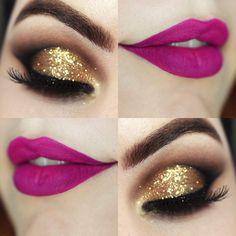 Maquiagem dourada e batom cor de MARAVILHA❤❤❤