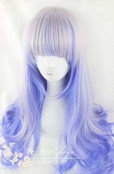 [Kyouko / wig] AMO same paragraph / Harajuku / daily / Sen Department of corrugated roll mixing silver blue streaked wig - Taobao