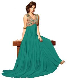Buy Sea Green Semi Stitched Net Salwar Kameez Online at cheap prices from Shopkio.com: India`s best online shoping site