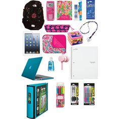 School Supplies and Electronics by southernprepster101 on Polyvore featuring polyvore, fashion, style, Lilly Pulitzer, Speck, Vera Bradley, Five Star, Starter, Post-It and INC International Concepts