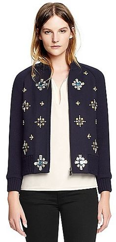Love the embellishment trend for fall and this sparkly jackets is one of my favorite finds| Tory Burch Melissa Jacket