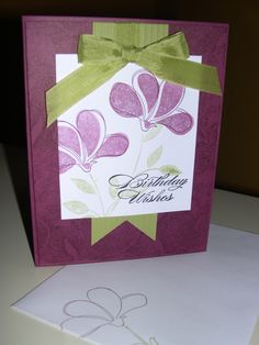"""Awash with flowers; Fine Lace-background (whisper white 3x3-1/3""""; pear pizzazz; rich razzleberry  4x5-1/4"""") stampin up card"""