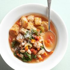 Looking to eat more veggies? Serve our filling soup loaded with hearty kale, creamy cannellini beans, and tomatoes: http://www.bhg.com/recipes/from-better-homes-and-gardens/april-2014-recipes/?socsrc=bhgpin040314kaleandwhitebeansoup&page=10