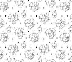 Geometric elephants origami paper art safari theme mother and baby gender neutral black and white - fabric and wallpaper design by Little Smilemakers Studio at Spoonflower
