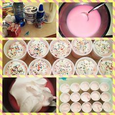 Cotton Candy Pudding Shots! (Taken with Instagram) 1 box strawberry creme pudding 1 cup pinnacle cotton candy vodka 1 cup milk 8oz cool whip whipped cream/sprinkle garnish optional!