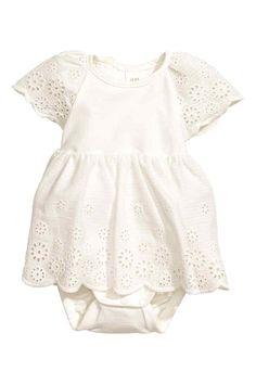 Katoenen jurk met borduursel - Wit - KINDEREN | H&M NL 1