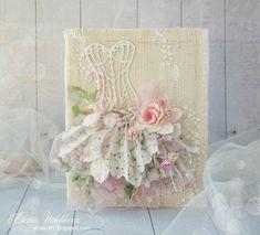 Сказочный мир Алисы: февраля 2014 Flower Stamp, Flower Cards, Mini Albums, Paper Art, Paper Crafts, Sewing Cards, Dress Card, Beautiful Handmade Cards, Die Cut Cards