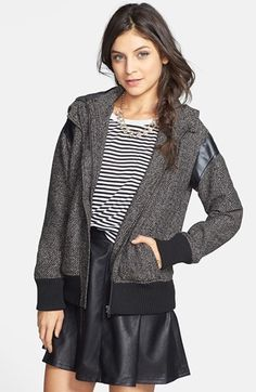 BP. Faux Leather Shoulder Tweed Bomber Jacket (Juniors) available at #Nordstrom Size L