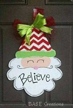 Santa Face Christmas door hanger by BASECreations on Etsy