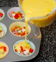 LOVE this Yummy and Simple way to make gluten free omelets for moms brunch in! Mini Omelet Muffins {Gluten Free} 12 eggs (beaten and seasoned with salt and pepper) diced ham bacon green onions red bell pepper mushrooms shredded cheddar cheese Free Breakfast, Breakfast Dishes, Breakfast Recipes, School Breakfast, Breakfast Ideas, Gluten Free Muffins, Gluten Free Recipes, Think Food, Love Food