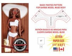 Prinable pattern of panties for Barbie Model Muse, LETTER SIZE - FOR U.S.A. AND CANADA