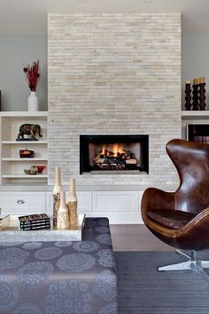 Fireplace with bookshelves and TV shelf, bench