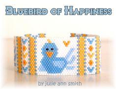 Julie Ann Smith Designs BLUEBIRD OF HAPPINESS Flat Odd Count Peyote Bracelet Pattern by JULIEANNSMITHDESIGNS on Etsy