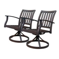 allen   roth Set Of 2 Gatewood Brown Slat Seat Aluminum Swivel Rocker Patio Dining Chairs