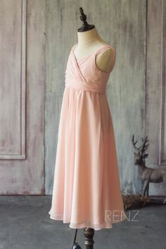 036aaa072a7 2015 Peach Junior Bridesmaid Dress Spaghetti Strap by RenzRags Tulle Dress