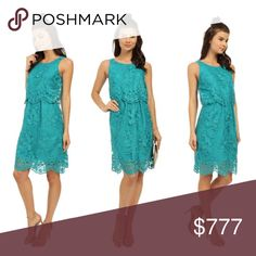 Jessica Simpson Lace Teal Dress NWT lace dress with back zipper, sleeveless. It is aqua green in color Jessica Simpson Dresses