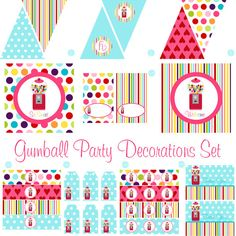 Gumball Decorations for Girls Birthday Party or Baby Shower - Printable DIY Decor by BeeAndDaisy - Instant Download Party Package