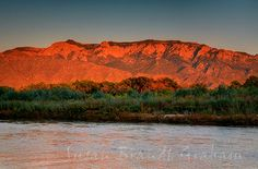 Beautiful Sunset on the Sandia Mountains, Albuquerque, NM...Sandia means...Watermelon   Rio Grande and Cottonwoods in the front.
