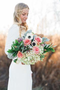 Rose, Hydrangea, and Aneone Bouquet | Amanda Hendrickson Photography | Blush and Gold Boho Bride at Magic Hour