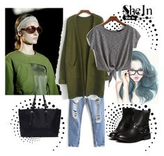 """Shein Army Green Coat"" by nejrasehicc ❤ liked on Polyvore"