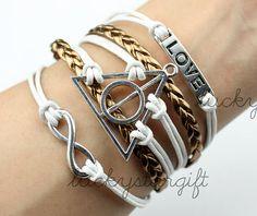 Harry potter bracelet,silvery love bracelet,infinity karma bracelet,wish bracelet,friendship bracelet,gift.-Q002by luckystargift on Etsy, $4.59