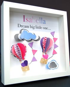 This personalized name shadowbox features beautiful hand-made origami hot air balloons and clouds, a perfect and unique gift for a newborn baby, birthday, or any special person! They are crafted with origami paper and mounted onto an acid-free cardstock. These are made to order,