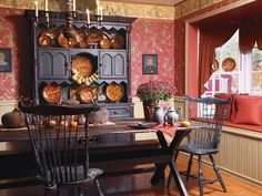 Nice Prim Dining Room. Love The Window Seat And Hutch........