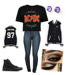 """""""Untitled #33"""" by jimins-left-ear ❤ liked on Polyvore featuring Vibrant, Boohoo and Converse"""