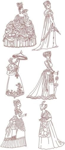 Advanced Embroidery Designs - Redwork >> Ladies Embroidery Designs.