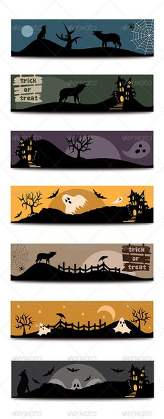 Halloween Flat Banners Set  #GraphicRiver         Halloween flat banners set contains 7 different, horizontal spooky web banners designed for Halloween.  	 Free fonts, download links included in the zip file.  	 In this file you will find the .jpg, .eps10, .ai and .png files.  	 These banners are layered, easy to edit text and colors and can be scalable at any dimensions without loss of resolution.  	 If you have any questions please feel free to contact me.     Created: 23September13…