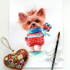 Еще одна собачка, нарисована на заказ) в этом году у меня их особенно много) теплое текстильное сердечко с ароматом нового года от Иры @tigrulik_krasotulik )