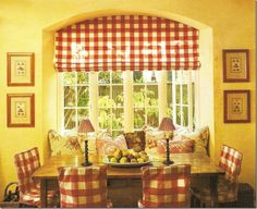 Love the red and white buffalo check on the window treatment and slipcovers From: Cote De Texas, please visit Arched Window Treatments, Kitchen Window Treatments, Arched Windows, Yellow Country Kitchens, Cottage Kitchens, Shabby Chic, French Country Decorating, Country French, Red Rooms