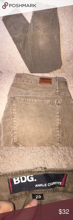 BDG ankle skinny corduroy jeans Purchase from UO . Great condition - worn once ... no stains or damaged . Never been in dryer . Firm on price because  I paid  a lot for . Fun jeans .. the color is Lorien but a lighter brown color 2% spandex , 98% cotton Urban Outfitters Jeans Skinny