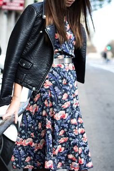 // leather and florals...usually not my thing, but I really like this particular combination
