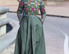 Items similar to Army green african print dress, ankara dress, african clothing, african print dress on Etsy African Inspired Fashion, African Print Fashion, African Prints, Ankara Dress, African Dress, Ankara Clothing, African Blouses, Ankara Styles, Blue Tops