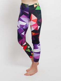 Cool Contemporary Geo Design Leggings, Bright Multicolor Design My custom artwork leggings are designed, by me, in NYC and printed and sewn by