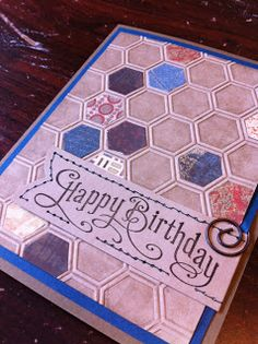 Great masculine card by Inky Moose using the honeycomb folder...love it!