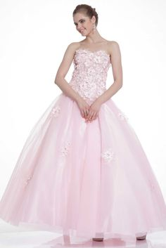 Sweetheart Quinceanera Dress CD2222 Floor Length A-Line Quinceanera Dress has Strapless Sweetheart Neckline Floral Applique and Detail Jewel Beaded Lush Bodice, Open Back with Lace-up Closure, Mesh Layered Satin Skirt with Detail Applique. https://www.smcfashion.com/wholesale-prom-dresses/sweetheart-quinceanera-dress-cd2222