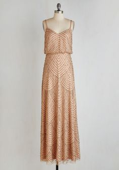 Calling All Romantics Dress in Cafe au Lait - Tan, Beads, Scallops, Special Occasion, Vintage Inspired, 20s, Maxi, Spaghetti Straps, Long, Wedding, Bridesmaid, Woven, Best