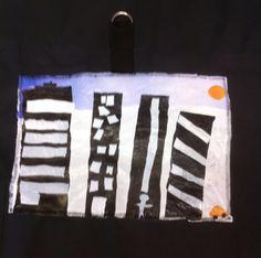 Ville en plastique fondu pour décorer un sac