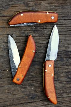 Folding Pocket Knives, hand forged, in Eaton Rapids Michigan. $90.00, via Etsy.