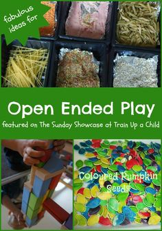 Ideas for Open Ended Play featured on The Sunday Showcase at Train Up a Child Play Based Learning, Learning Through Play, Early Learning, Fun Learning, Sensory Activities, Educational Activities, Preschool Activities, Sensory Play, Art For Kids